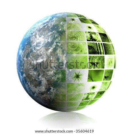Green Global Business Technology as a Abstract - stock photo