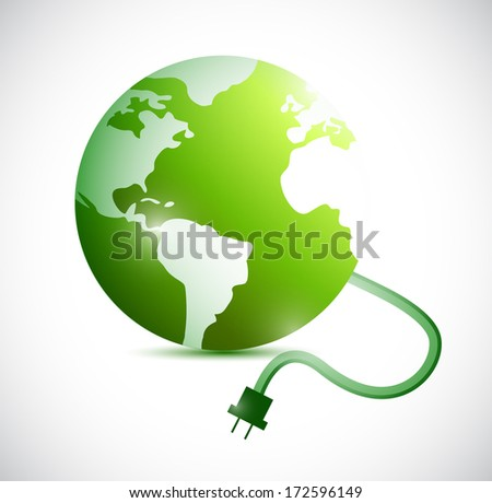 green globe and cable connection. illustration design over a white background