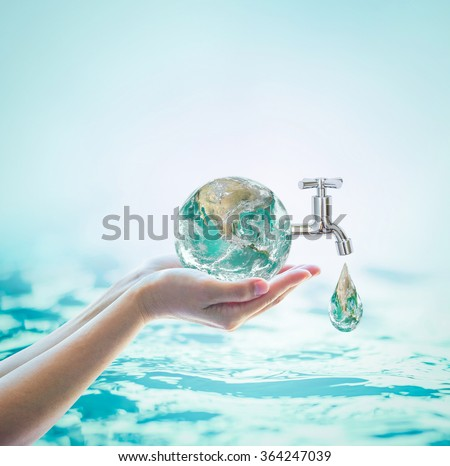 Green globe in woman human hand, drinking water tap on blur natural blue ocean background World environmental protection concept Saving water conceptual csr esg idea Element of image furnished by NASA - stock photo