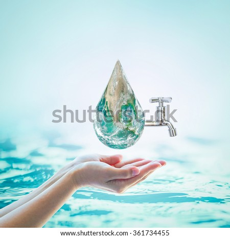 Green globe in woman human hand w/ drinking water tap on blur natural blue ocean background World environmental protection concept Saving water conceptual csr idea: Element of image furnished by NASA - stock photo