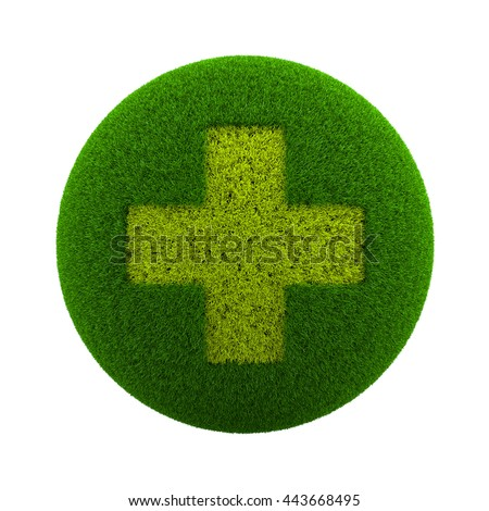 Green Globe with Grass Cutted in the Shape of a Medical Cross Symbol 3D Illustration Isolated on White Background