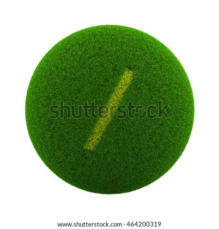 Green Globe with Grass Cutted in the Shape of a Slash Text Symbol 3D Illustration Isolated on White Background