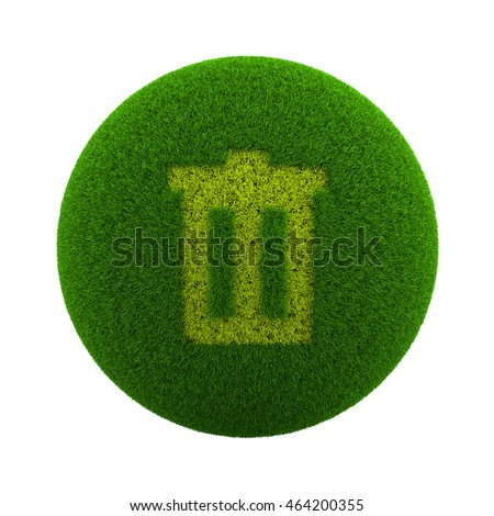 Green Globe with Grass Cutted in the Shape of a Trash Can Symbol 3D Illustration Isolated on White Background