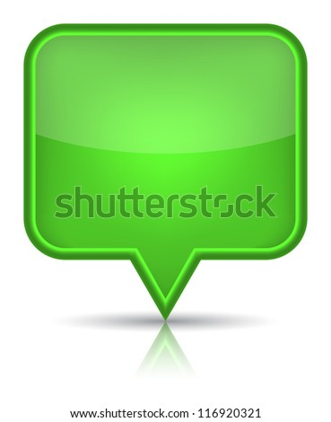Green glossy blank map pin icon web button. Rounded rectangle shape with black shadow and reflection on white background. (Raster version) - stock photo