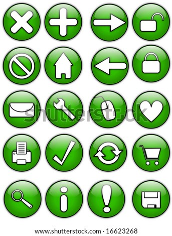 Green Glossy Internet Buttons