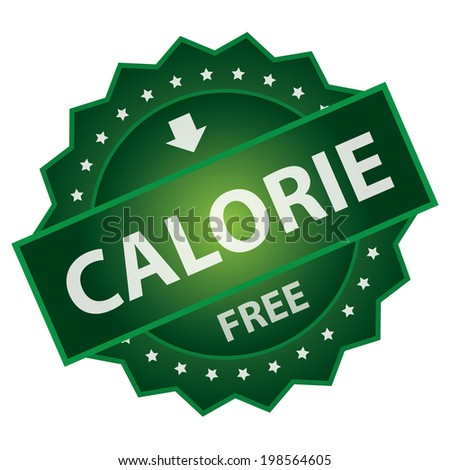 Green Glossy Style Calorie Free Mark, Icon, Label, Sticker or Badge Isolated on White Background