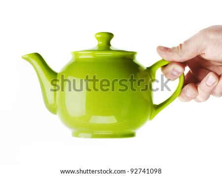 Green Glossy Teapot - stock photo