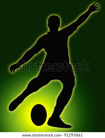 Green Glow Ball Sport Silhouette - Rugby Football Kicker place kicking the ball - stock photo