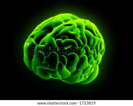 green glowing brain - stock photo