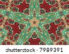 Green, Gold and Red Beaded Abstract Star Background - stock photo