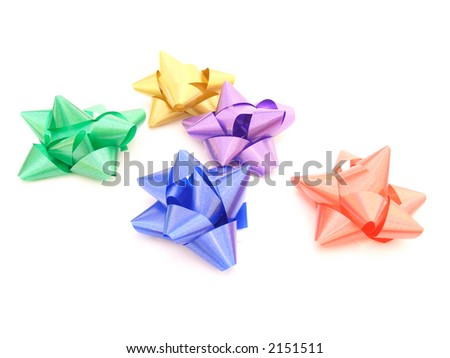 Green, Gold, Blue, Purple, and Red Xmas Bow
