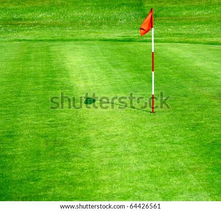 Green golf course - stock photo