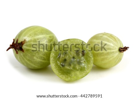 Green gooseberries with a half