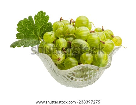 Green Gooseberries with leaf isolated on white