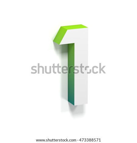 Green gradient and soft shadow number ONE - 1. 3D render illustration isolated on white background