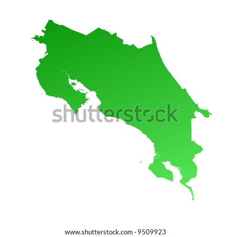 Green gradient Costa Rica map. Detailed, Mercator projection. - stock photo