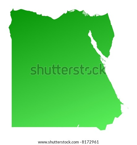 Green gradient Egypt map. Detailed, Mercator projection.