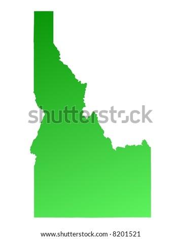 Green gradient Idaho map, USA. Detailed, Mercator projection. - stock photo