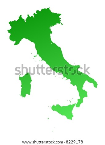 Green gradient Italy map. Detailed, Mercator projection.