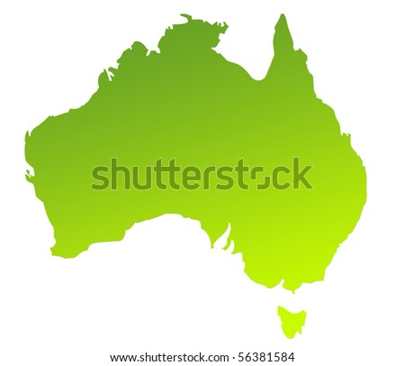 Green gradient map of Australia isolated on a white background. - stock photo