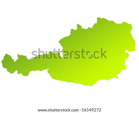 Green gradient map of Austria isolated on a white background. - stock photo