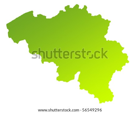Green gradient map of Belgium isolated on a white background.