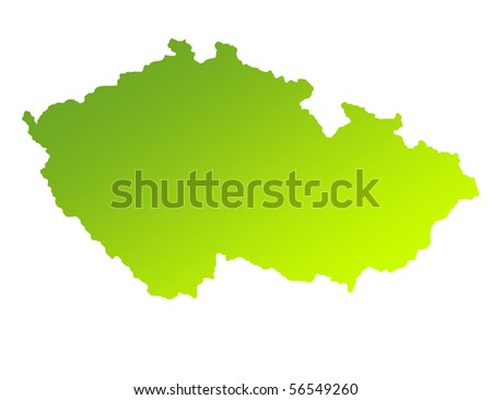 Green gradient map of Czech Republic isolated on a white background.