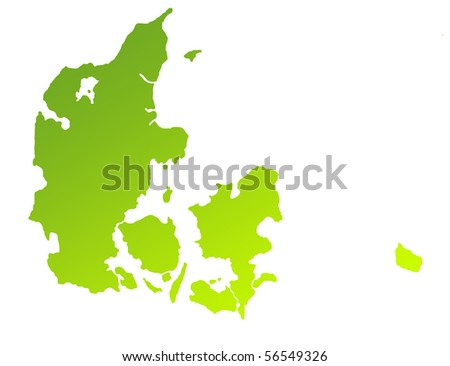 Green gradient map of Denmark isolated on a white background. - stock photo