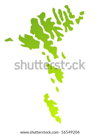 Green gradient map of Faroe Islands isolated on a white background.