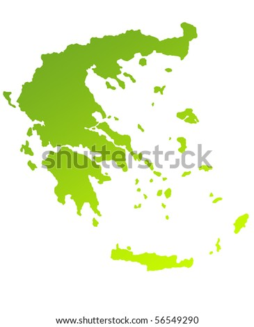 Green gradient map of Greece isolated on a white background. - stock photo