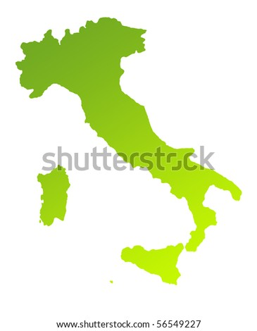 Green gradient map of Italy isolated on a white background.