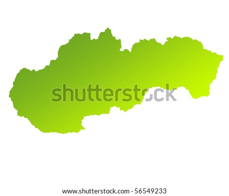 Green gradient map of Slovakia isolated on a white background.