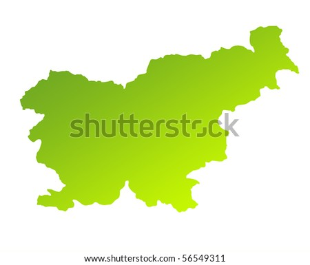 Green gradient map of Slovenia isolated on a white background. - stock photo
