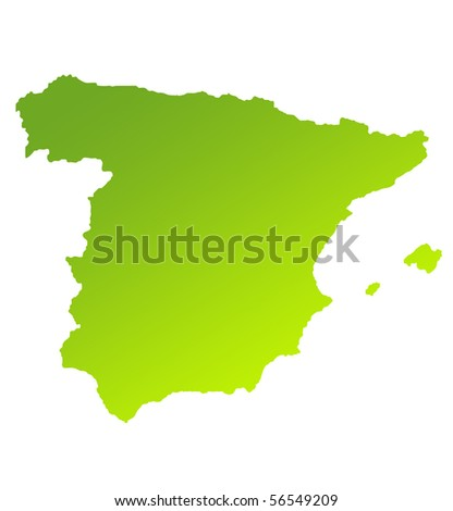 Green gradient map of Spain isolated on a white background.