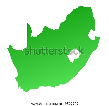 Green gradient South Africa map. Detailed, Mercator projection.