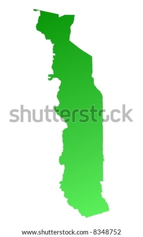 Green gradient Togo map. Detailed, Mercator projection.