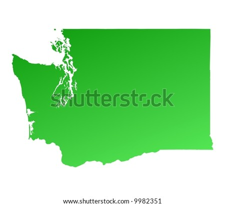 Green gradient Washington map, USA. Detailed, Mercator projection.