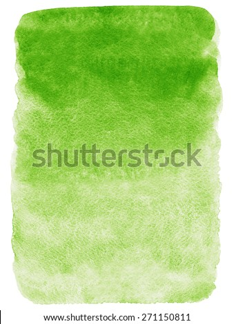 Green gradient watercolor background. Hand drawn texture. Rough, artistic edges. Raster version. - stock photo
