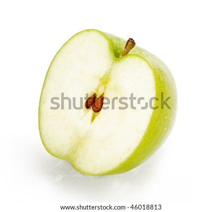 Green Granny Smith Apple Half with seeds isolated on white background with clipping path - stock photo