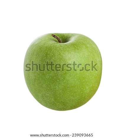 Green Granny Smith apple on a bright background