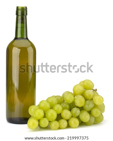 Green grape bunch and bottle of wine isolated on white background