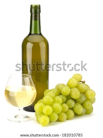 Green grape bunch and wine isolated on white background