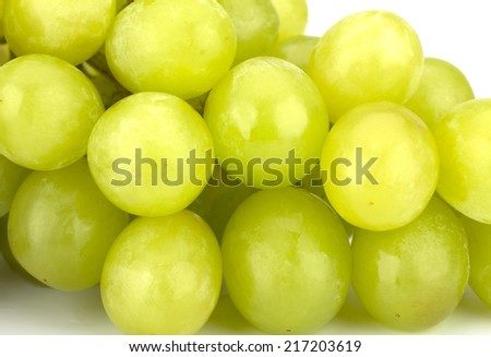 Green grape bunch isolated on white background