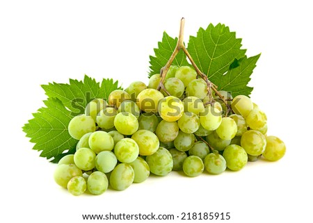 Green grape fruit isolated on white - stock photo