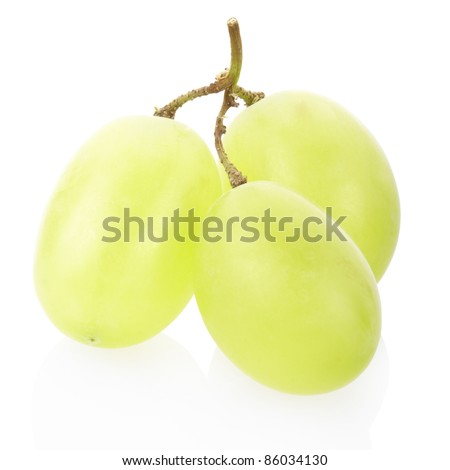 Green grape fruit isolated on white, clipping path included - stock photo