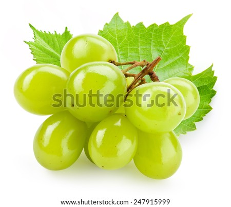 Green grape with leaf isolated on white background - stock photo