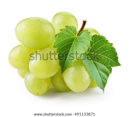 Green grape with leaf isolated on white. With clipping path.