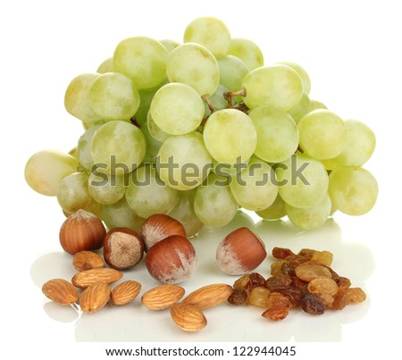 Green grape with nuts isolated on white