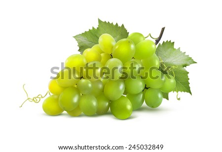 Green grapes horizontal and leaves isolated on white background as package design element - stock photo