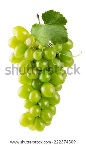green grapes isolated on the white background - stock photo